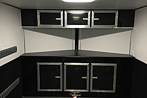 Interior V-nose cabinetry w/winch