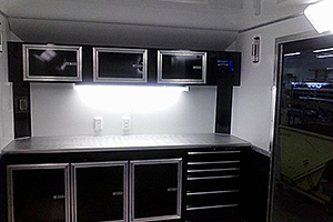 Car Hauler custom cabinetry for flat front trailer
